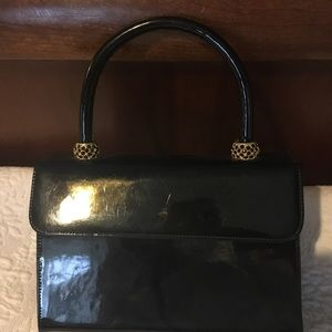 Vintage Bags - Vintage Black Patent Leather Box Bag
